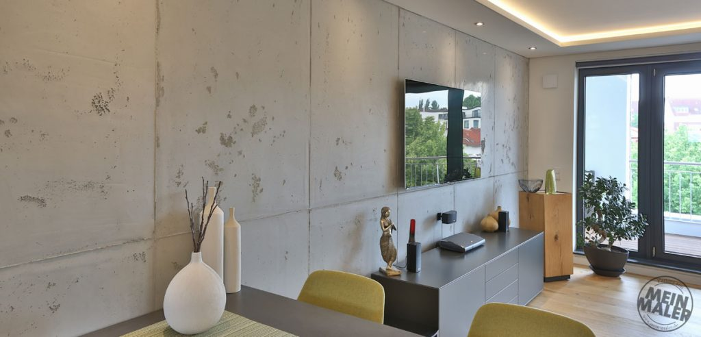 Betonoptik, exklusive Wandgestaltung, kreative Oberflächen- und Wohnraumgestaltung
